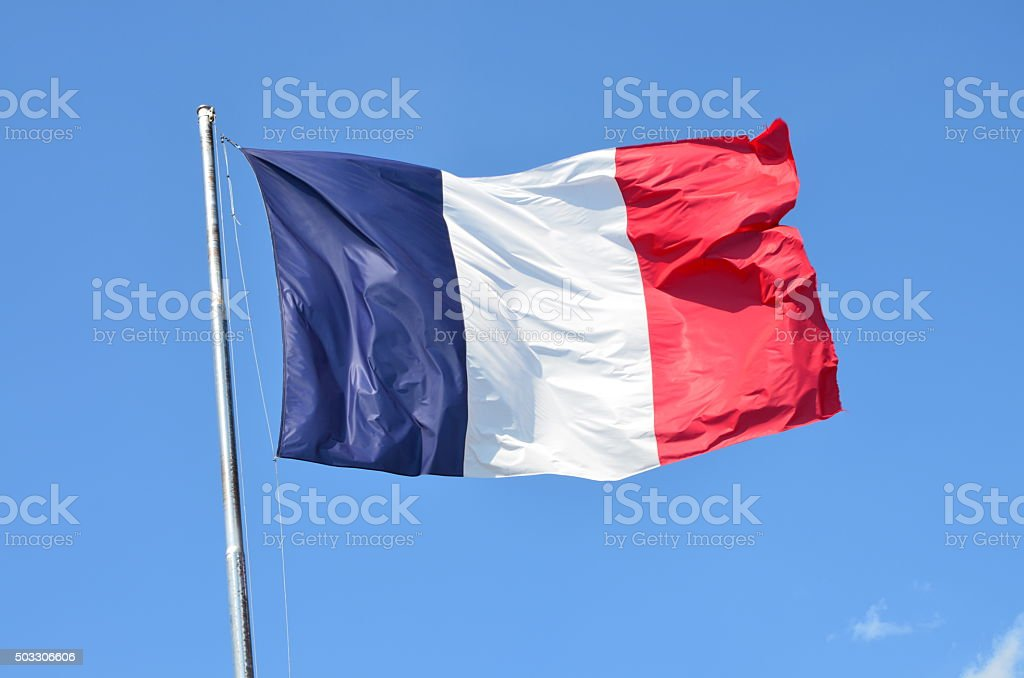 French Flag Blowing on the Wind stock photo