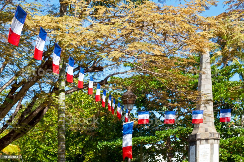 French flag bunting for Bastille day stock photo
