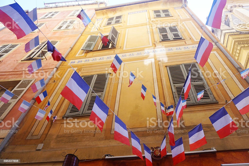 French flag bunting stock photo
