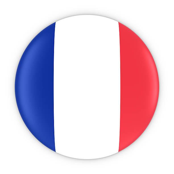 French Flag Button - Flag of France Badge 3D Illustration stock photo