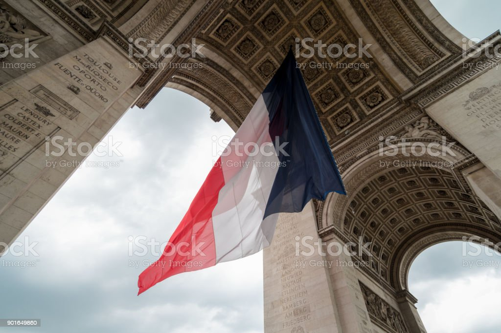 french flag during bastille day in paris at Arc de Triomphe stock photo