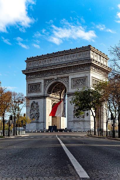 French flag under Arc de Triomphe in Paris stock photo