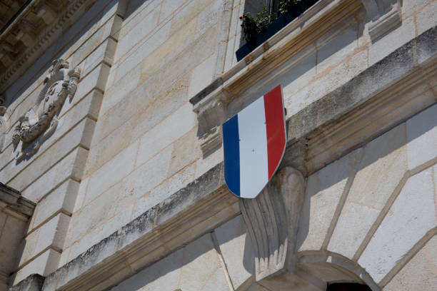 French flag waving over one Hotel de Ville French flag waving over one Hotel de Ville ville stock pictures, royalty-free photos & images