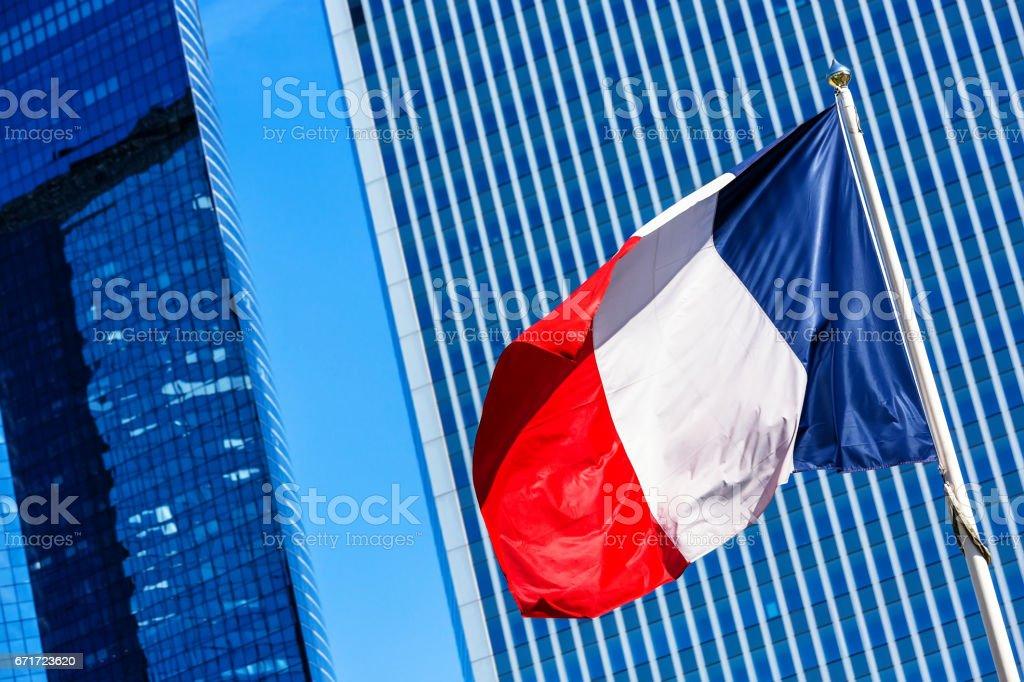 Drapeau Français avec les entreprises de construction sur fond - Photo