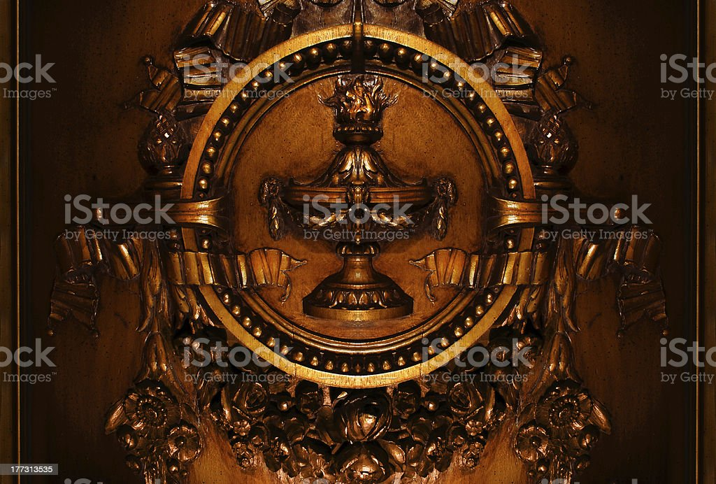 french floral plaque, bronzed hickory wood royalty-free stock photo