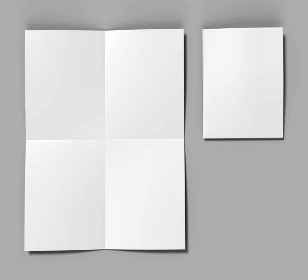 französische falten a4 a5 quadratische broschüre flyer für mock up prospekt und vorlage entwerfen. leere 3d-render weiße abbildung. - faltpapier stock-fotos und bilder