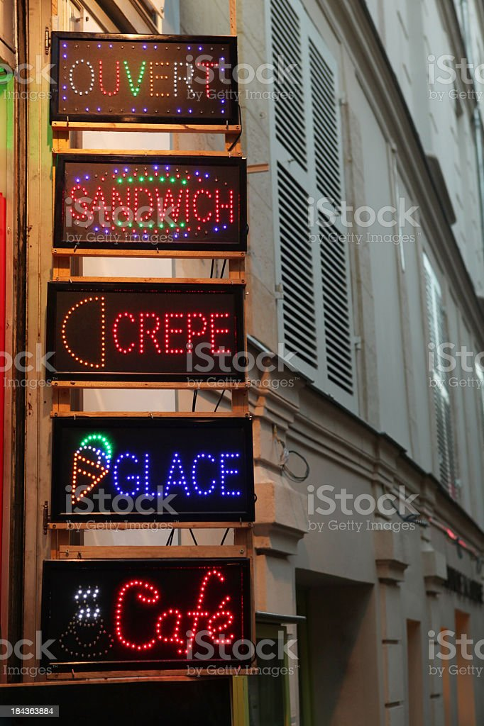 French food neon sign royalty-free stock photo
