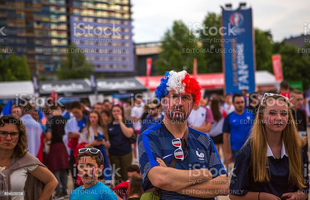 French football fans support national-team in european cup  lille france stock photo