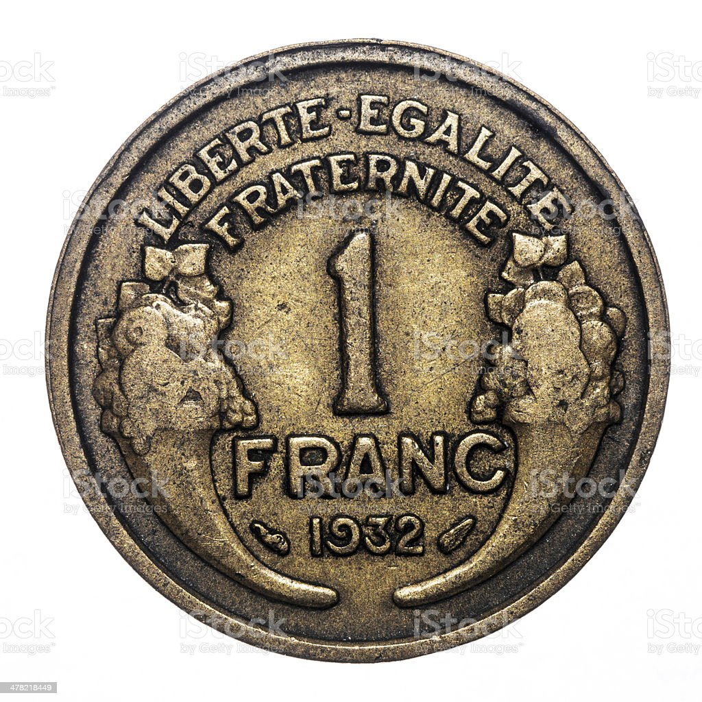 1 French franc coin isolated on white (1932) royalty-free stock photo