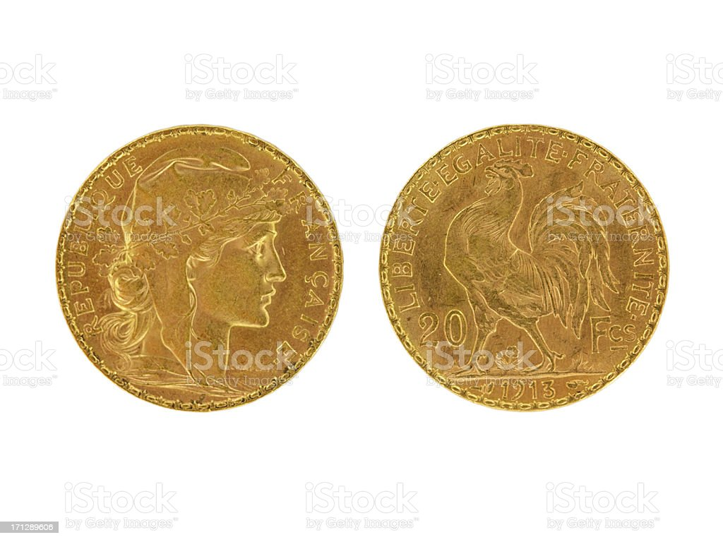 French franc from 1913 royalty-free stock photo
