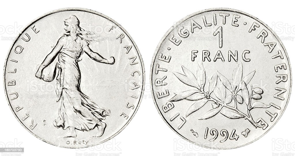 French Franc on white background stock photo