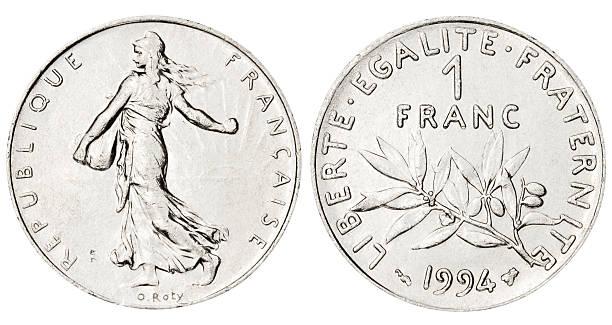 french franc on white background - franken stockfoto's en -beelden