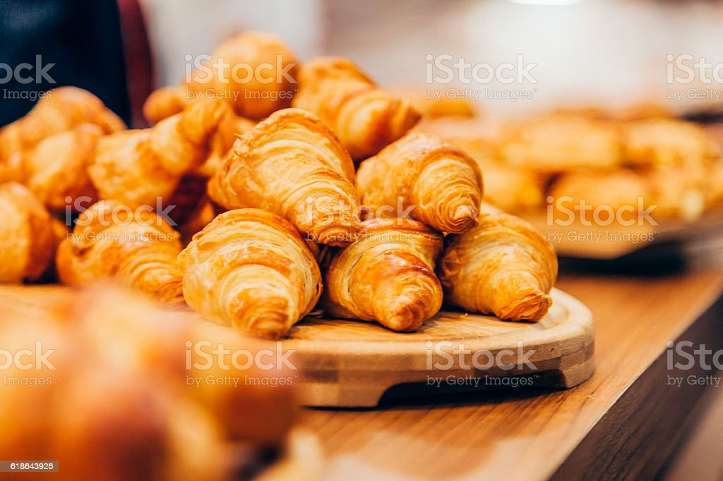 French fresh croissant for sale stock photo