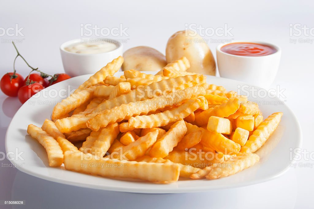French Fries Fresh Potatoes Ketchup And Mayonnaise stock photo