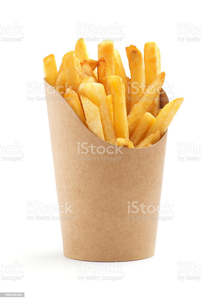 french fries in a paper wrapper royalty-free stock photo