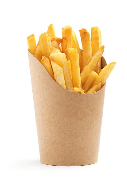 french fries in a paper wrapper - patat stockfoto's en -beelden