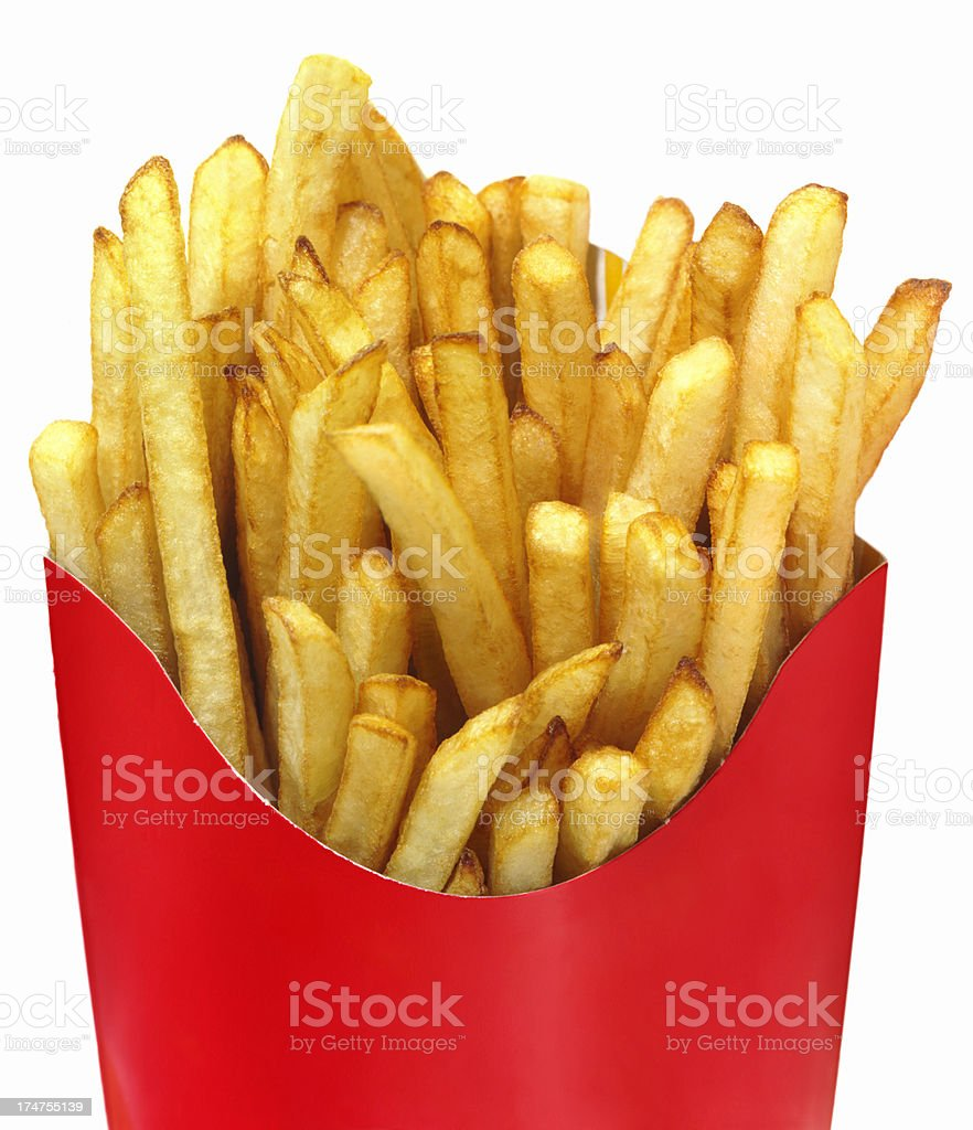 French Fries in a Red Take out Box royalty-free stock photo