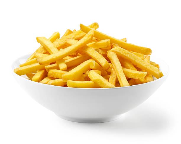 french fries in bowl - patat stockfoto's en -beelden