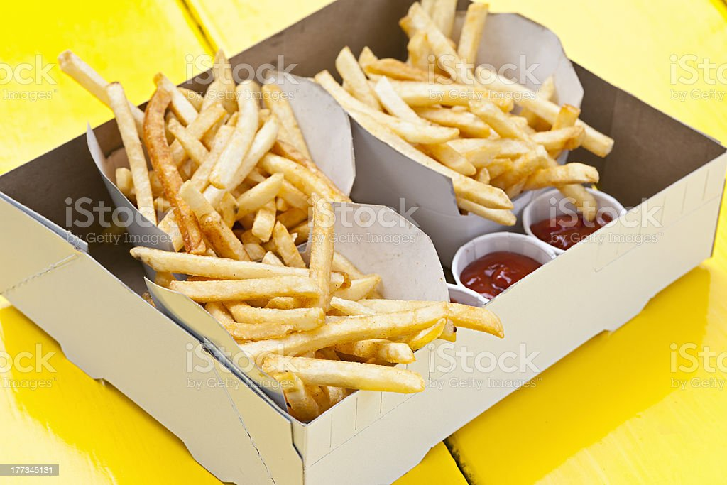 French fries in box royalty-free stock photo