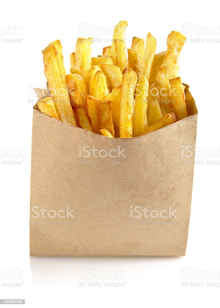 French fries in the paper bag isolated on white stock photo