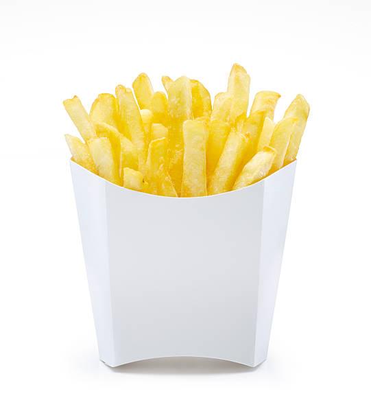 french fries in unlabeled pack - patat stockfoto's en -beelden