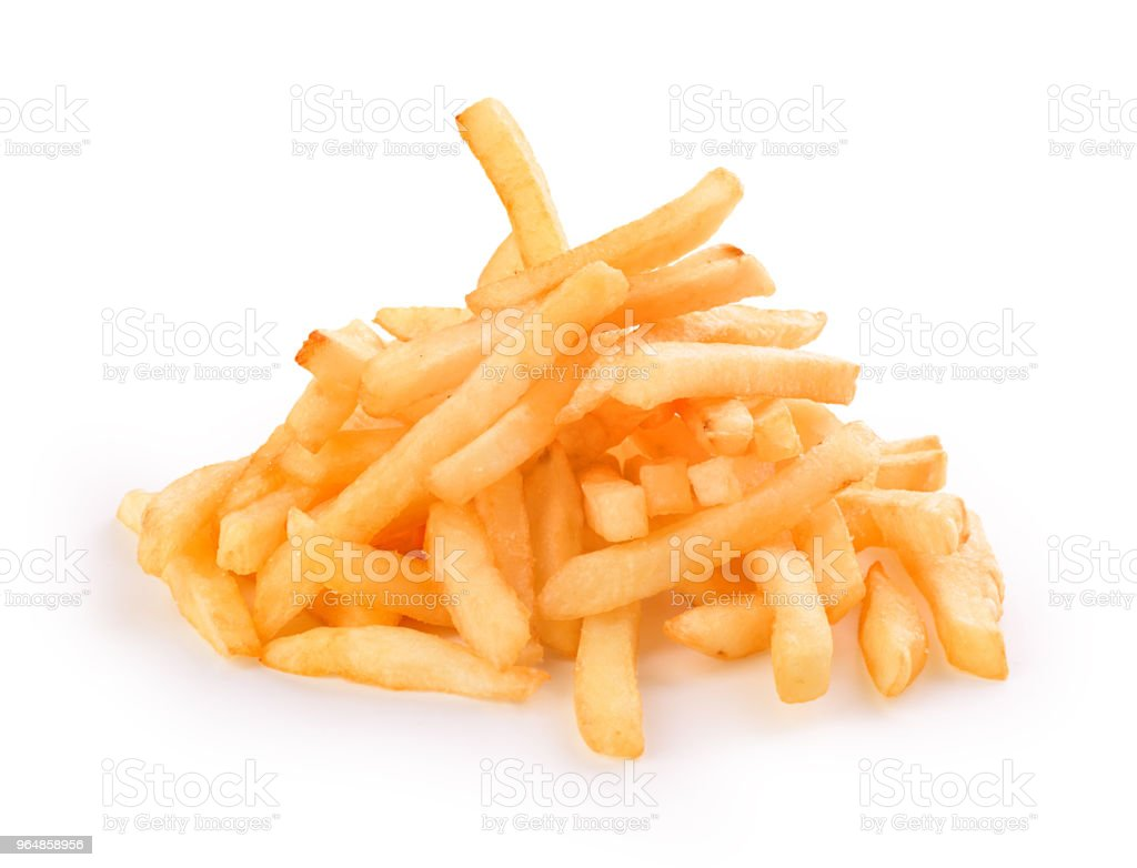 french fries on white background royalty-free stock photo