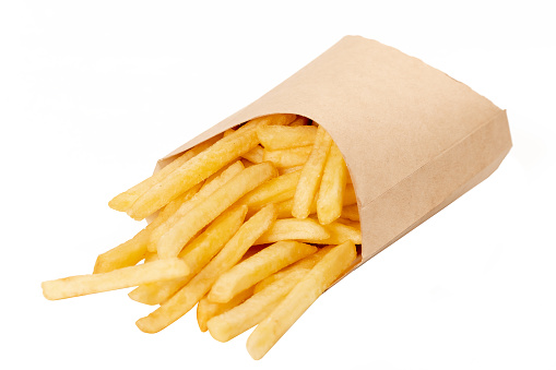 French fries on white isolated background