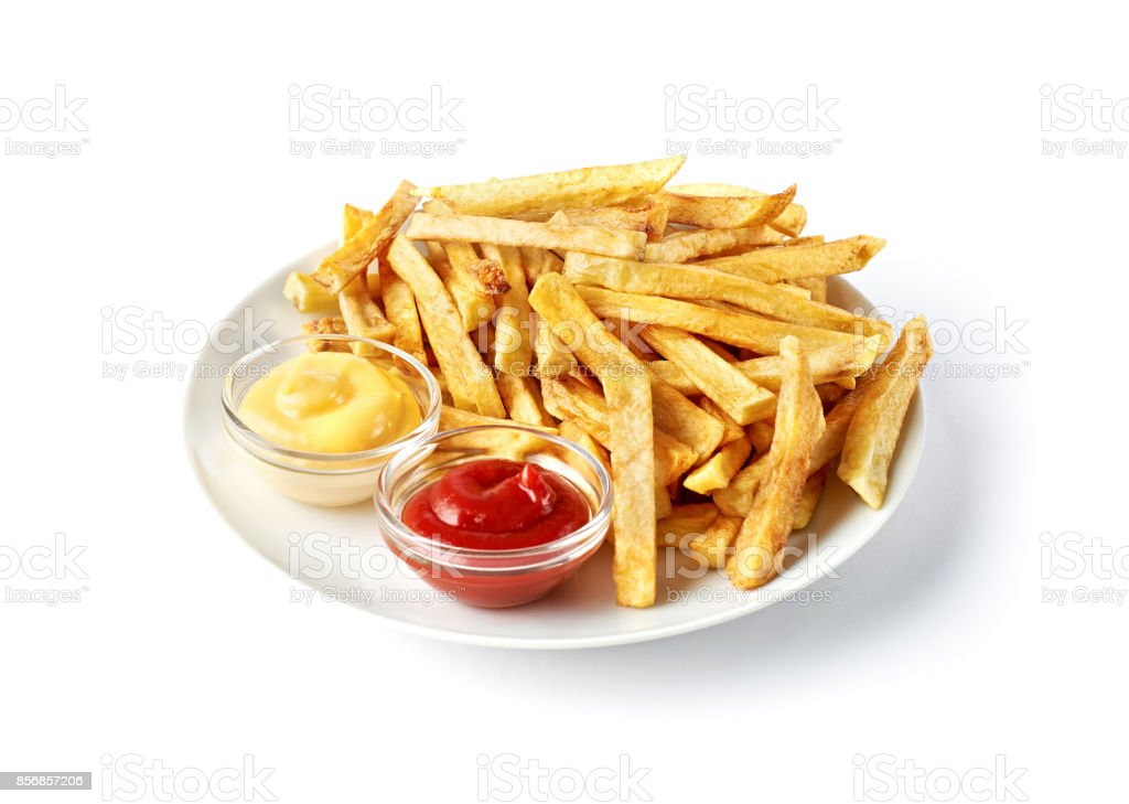 French fries on white plate with ketchup and cheese sauce isolated on white stock photo