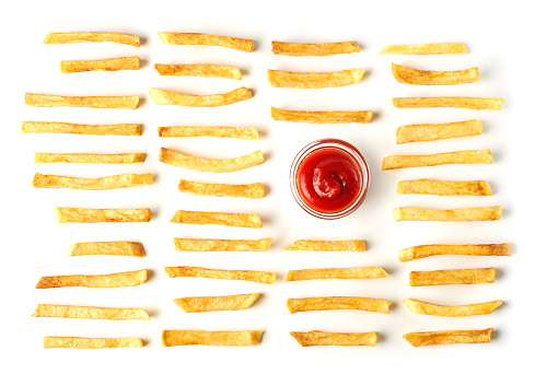 French fries with ketchup isolated on white background