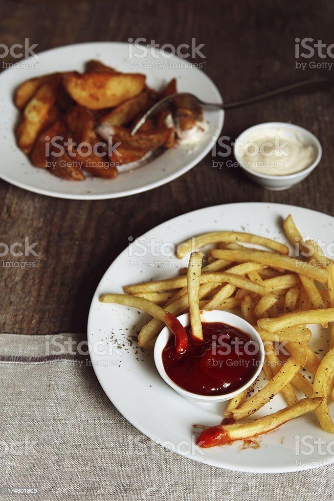 French fries with sauces royalty-free stock photo