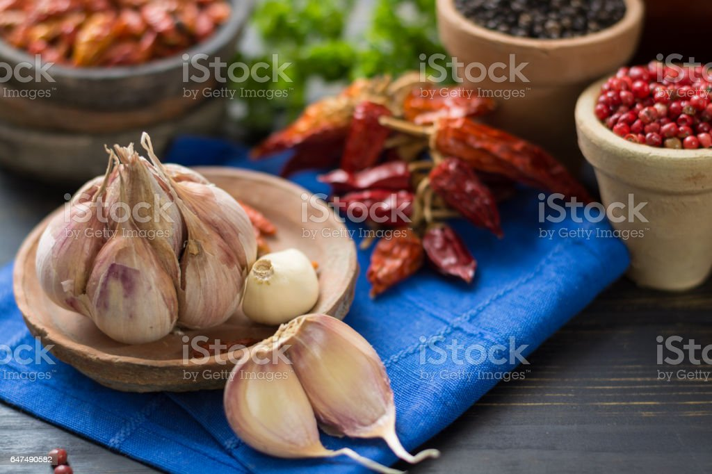 French garlic and red hot chili cayenne peppers dried, variety - spicy ingredient stock photo