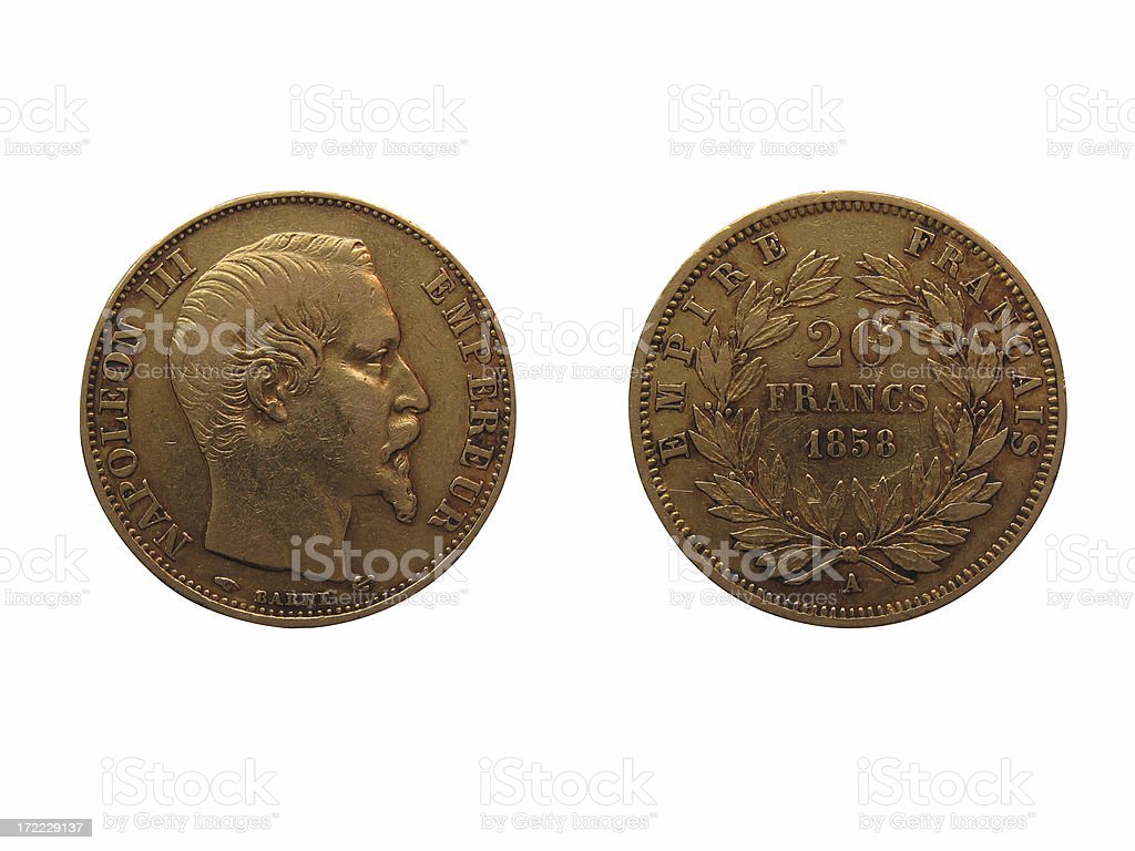 French Gold Coin (Isolated) stock photo
