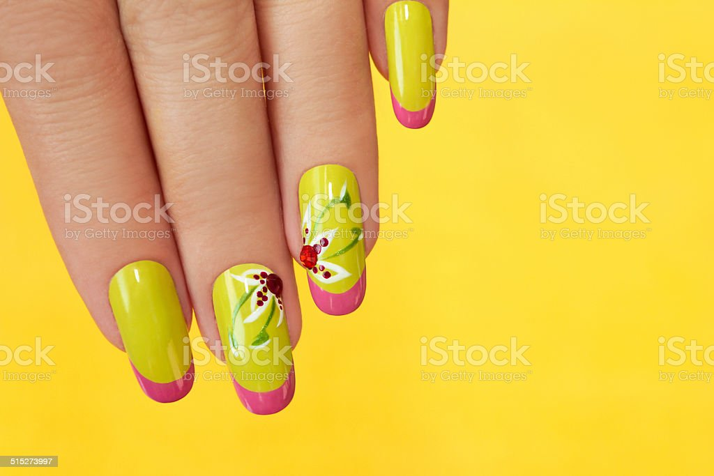 French green manicure. stock photo