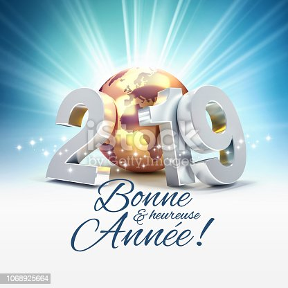 istock French Greeting card 2019 symbol for the best 1068925664