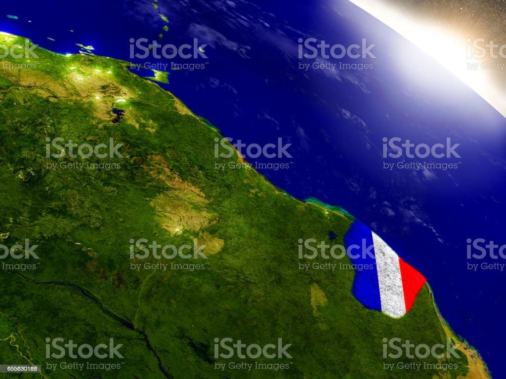 Français de Guyane avec indicateur au soleil levant - Photo