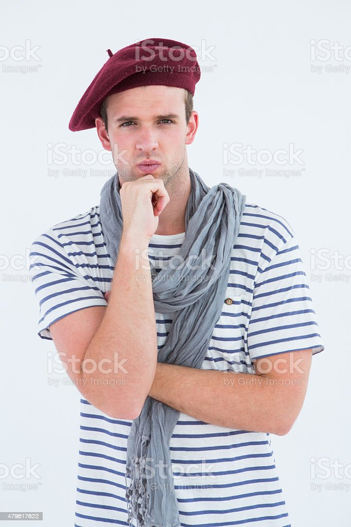 French guy with beret looking at camera stock photo