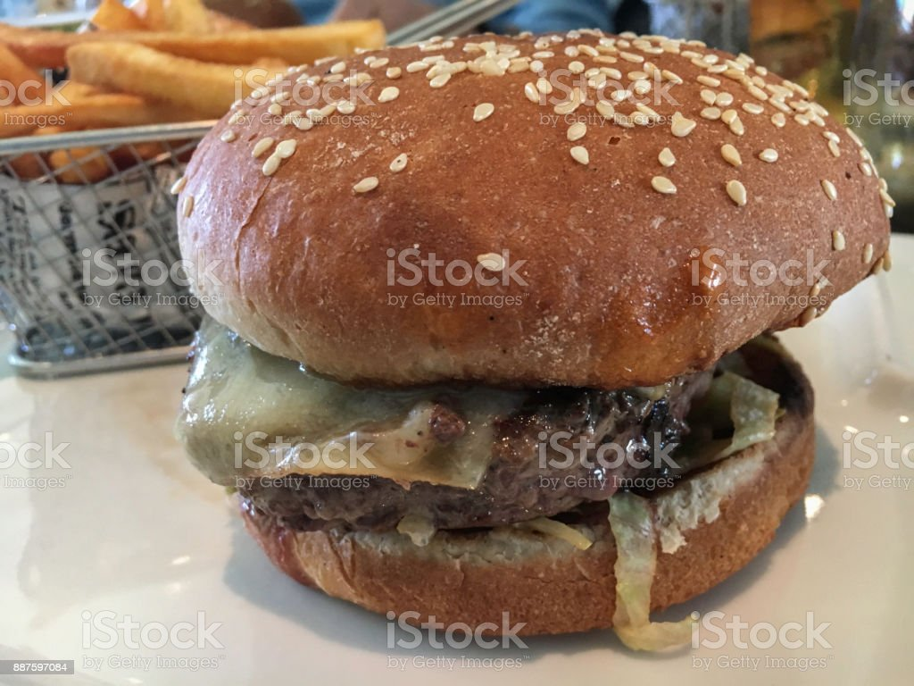 French hamburger with a Basket of Fries stock photo