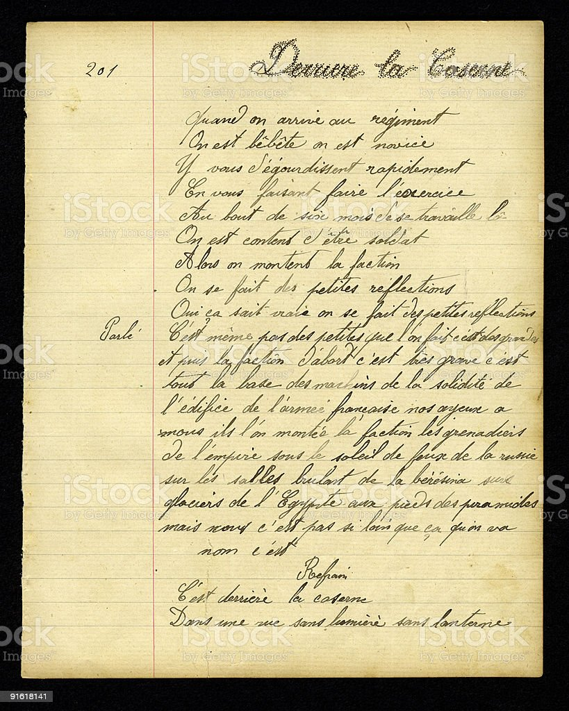 French Handwritten Poem on Old Exercise Paper royalty-free stock photo