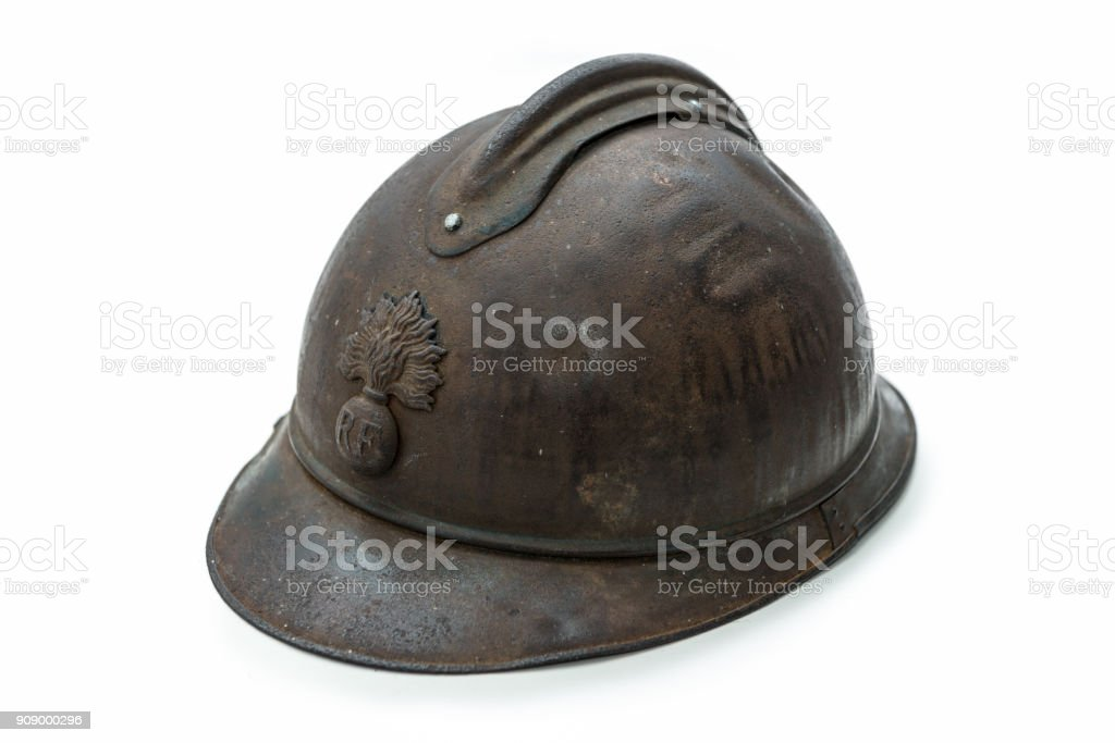 french helmet WW1 period isolated on the white background stock photo