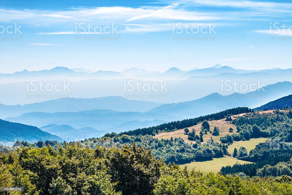 French hilly landscapes of the Alps mountains chain by summer stock photo