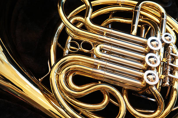 French Horn Closeup French Horn Closeup classical style stock pictures, royalty-free photos & images