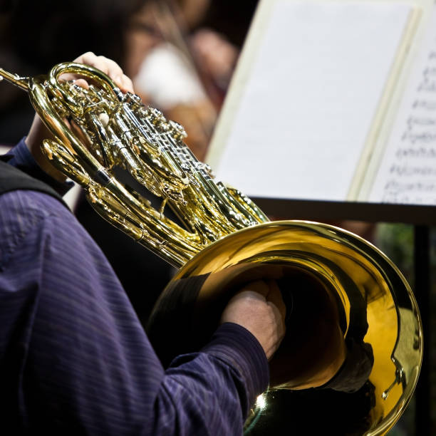 French horn in the hands of a musician in the orchestra stock photo