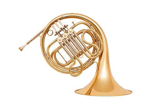 French Horn Isolated On White Background Stock Photo ...