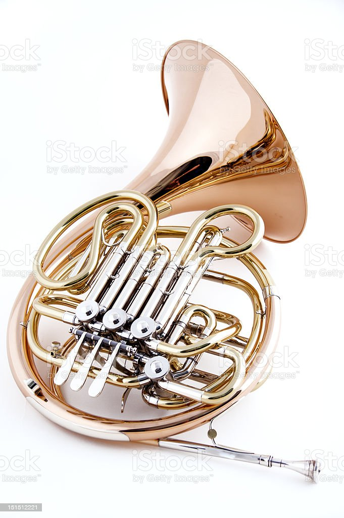 French Horn Isolated on White royalty-free stock photo