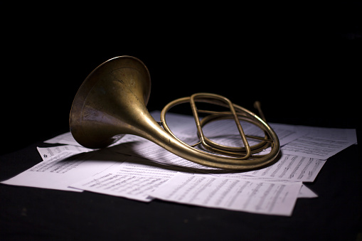French Horn On Dark Background Stock Photo - Download ...