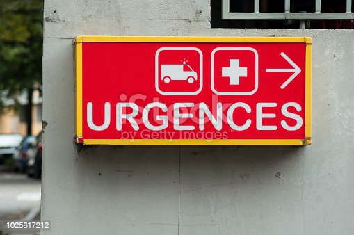 istock french hospital emergency entry sign with text in french ( urgences) 1025617212