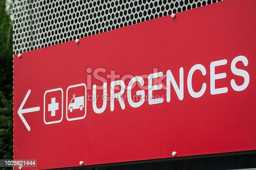 istock french hospital emergency entry sign with text in french ( urgences) 1025621444