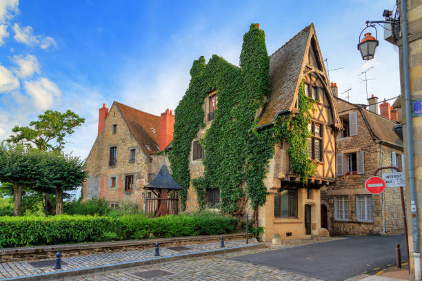 French house in the streets of Nevers stock photo