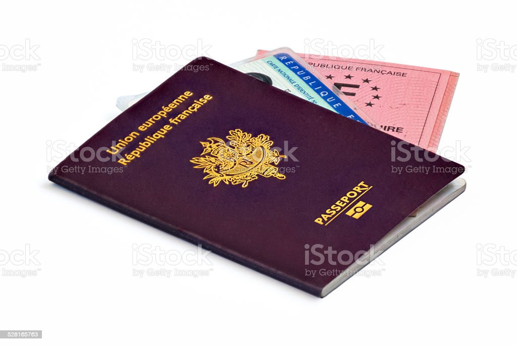 French identity papers (biometric passport, ID card and driver's license) stock photo