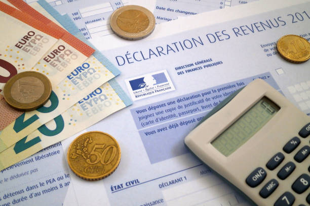 French income tax form stock photo